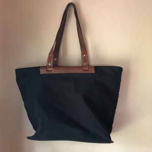 Banana Republic leather canvas tote bag